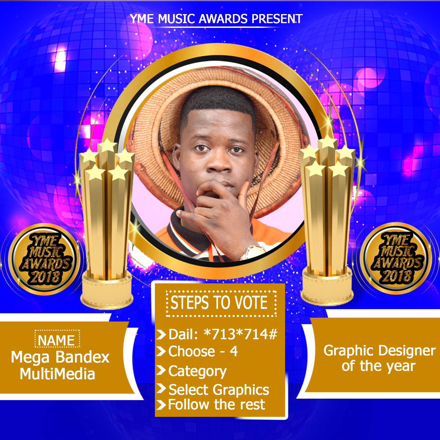 Video: Mega Bandex won Best Graphic Designer and blogger of the year @ the YME AWARDS
